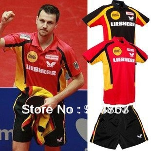 free shipping 2012 NEW Butterfly Man/s Badminton / Tennis Polo Shirt +shorts RED /BLACK