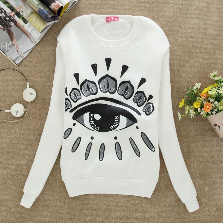 2014 New Fashion Autumn Women's Cotton Bling Bling Eyes Hoodies Sweatshirt tracksuits women 4 Colors B11(China (Mainland))