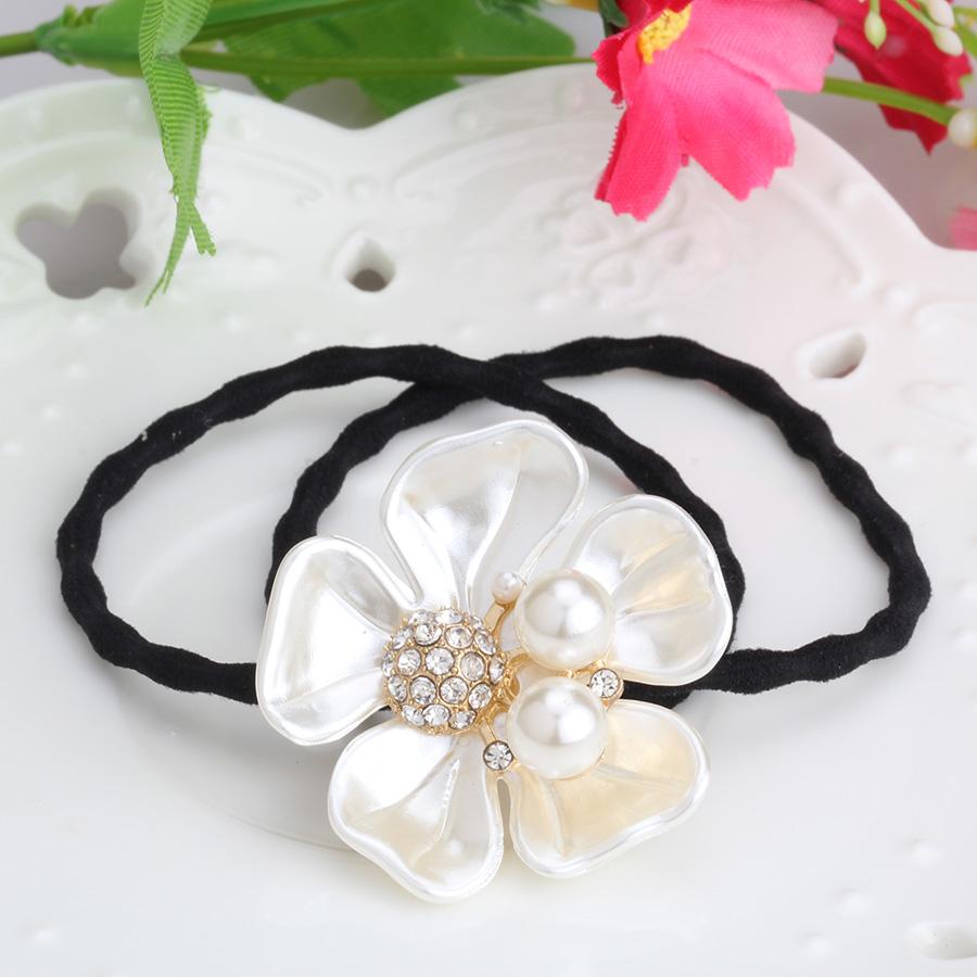 New Summer Korean Women Hair Accessories Rhinestone Tie Hair Rope Imitation Pearl Shell Flower Headband Elastic Rubber Hair Band(China (Mainland))