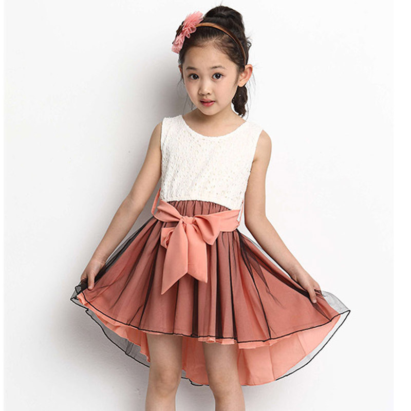 Cute Vintage Kids Lace Dresses Crochet Pink Yellow Color Bow Children Chiffon Princess Costume Evening Girls Dresses Summer 2015(China (Mainland))