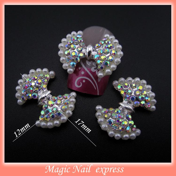 MNS384 AB rhinestones nail pearls 3d nail art bows DIY shoes decoration cellphone decor 30pcs(China (Mainland))
