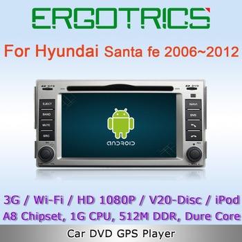 Android 4.0 3G WiFi Car DVD GPS Sat. Navi Headunit For Hyundai Santa fe 2006-2012 with AM FM RDS IPOD V20-CDC  Free Wifi Adapter