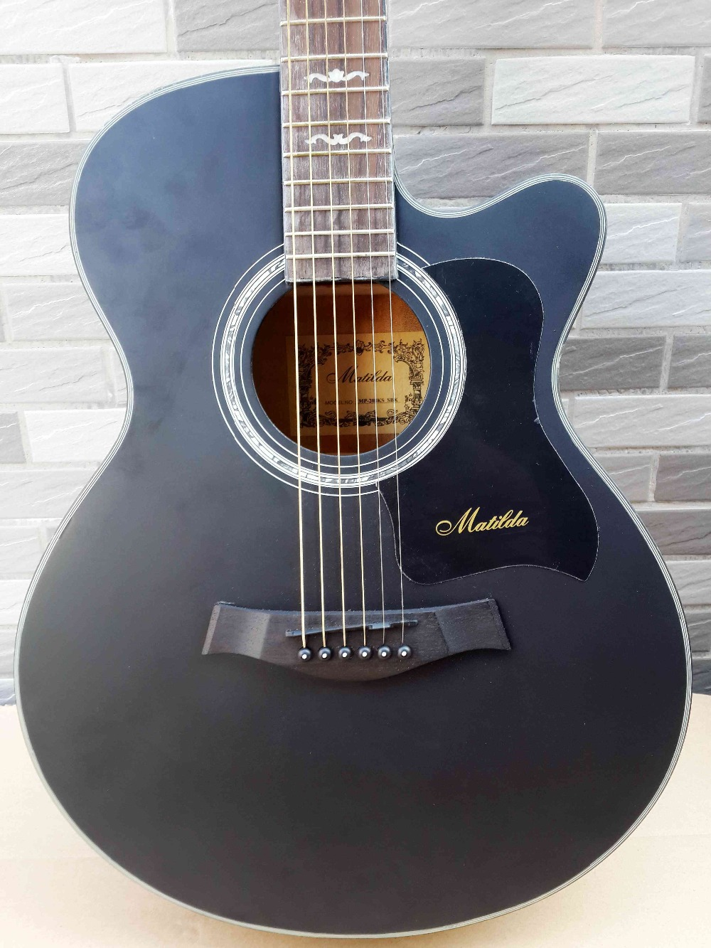 full celluloid binding electric acoustic guitar with free string