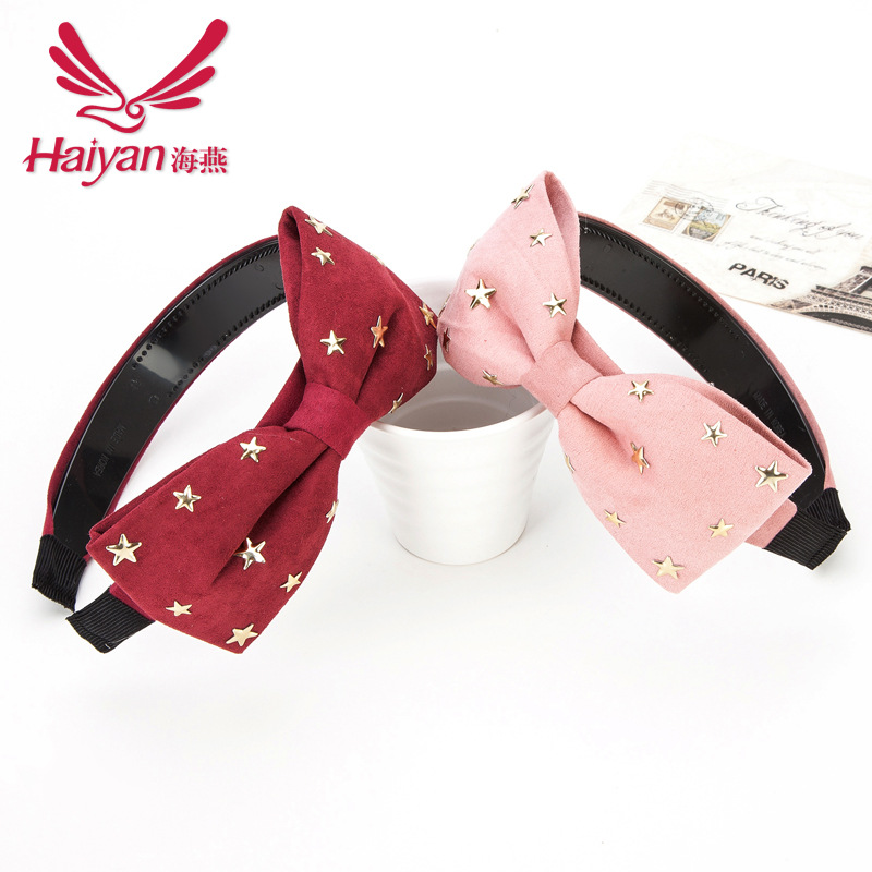 2015 Accessories Limited Solid Children Hairbands Active Women Cotton Baby Hair Bands Hot Suede Bow Headband Korean Stars(China (Mainland))