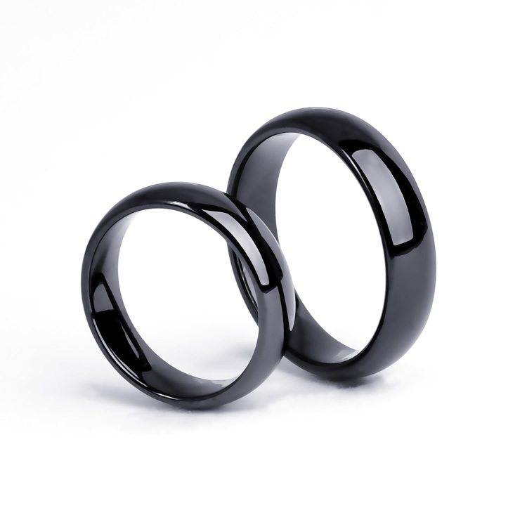 Couple's ring 4mm/6mm Tungsten Carbide Wedding Band Ring Set ,Half round and IP Black , christmas gift(China (Mainland))