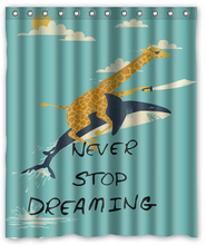 Best gift Giraffe Riding Shark Never Stop Dreaming Shower Curtain 60-inch by 72-inch Free Shipping(China (Mainland))