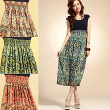 Buy High 2015 Brand Summer Womens Floral Print Chiffon Long Dresses O-Neck Beach High Waist Maxi Sundress Free 51 for $6.99 in AliExpress store