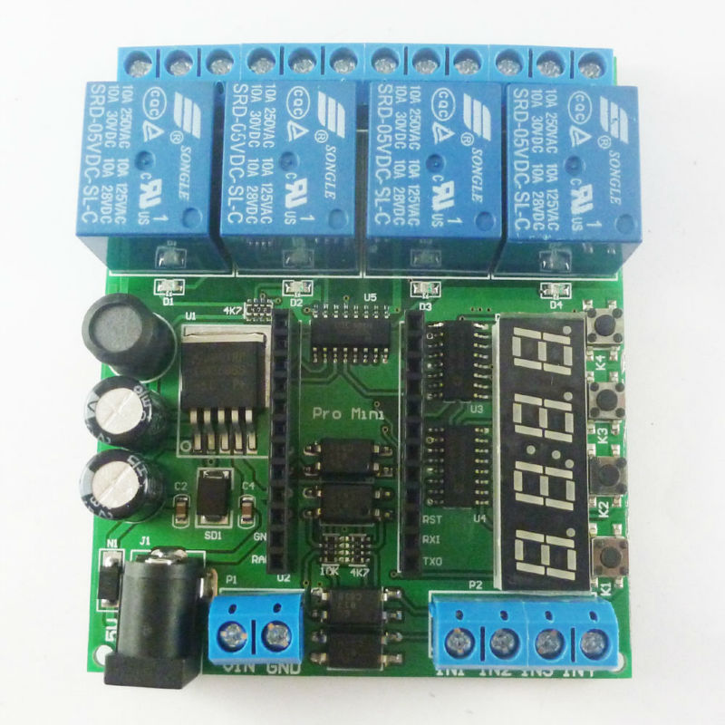 DC 5V 12V 24V 4 Channel Pro mini PLC Board Relay Shield Module for Arduino Delay Timer Switch(China (Mainland))