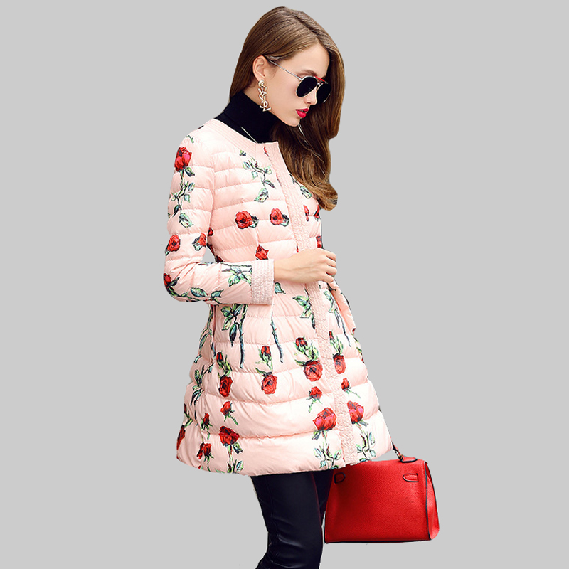 S-XL 2016 Round Collar Single-breasted Winter White Duck Down Jacket  Parka Fashion Printing Slim Winter Women Down Coat DQ753Одежда и ак�е��уары<br><br><br>Aliexpress