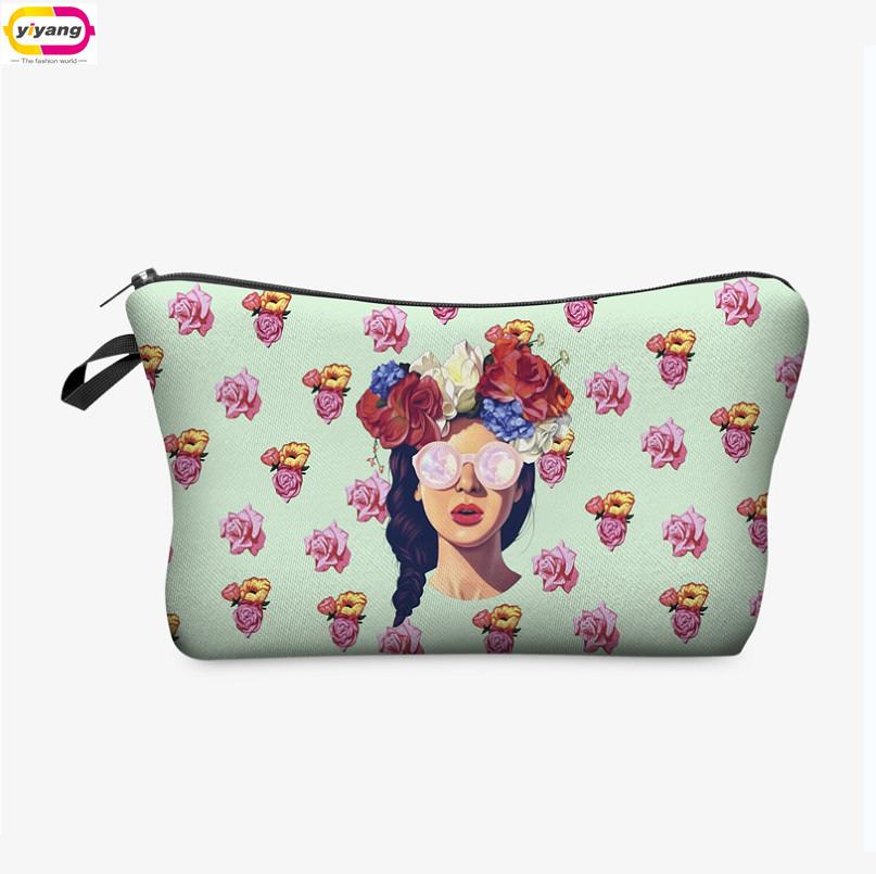 Multi- kleuren koppeling vrouwen make-up opslag gevallen 3d patroon afdrukken mode dame handtas make-up tas reizen in de hand(China (Mainland))