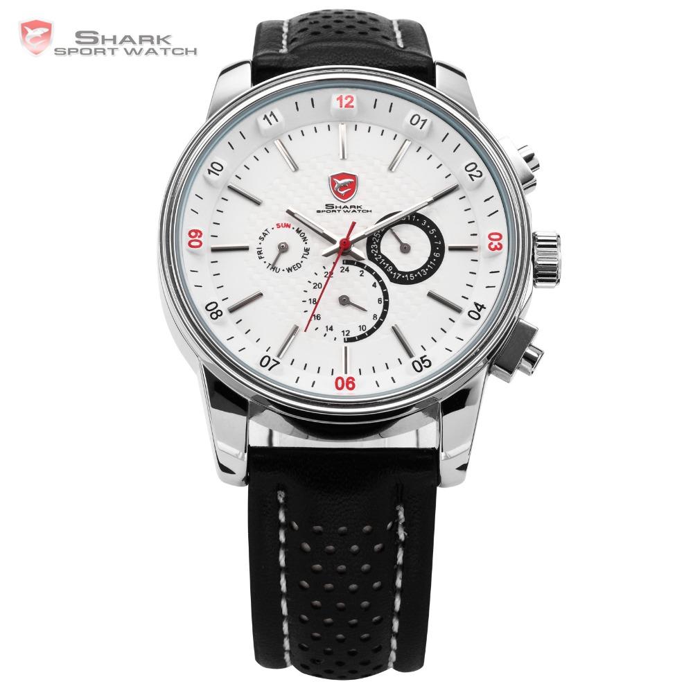 Гаджет  SHARK Racing 6 Hands Date Day 24 Hours Leather Strap Swiss Movement White Analog Quartz Wrist Men