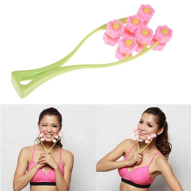 Free Shipping Flower Type Elastic Facial Massager Face-Lift Massage Roller Slimming Face GUB#