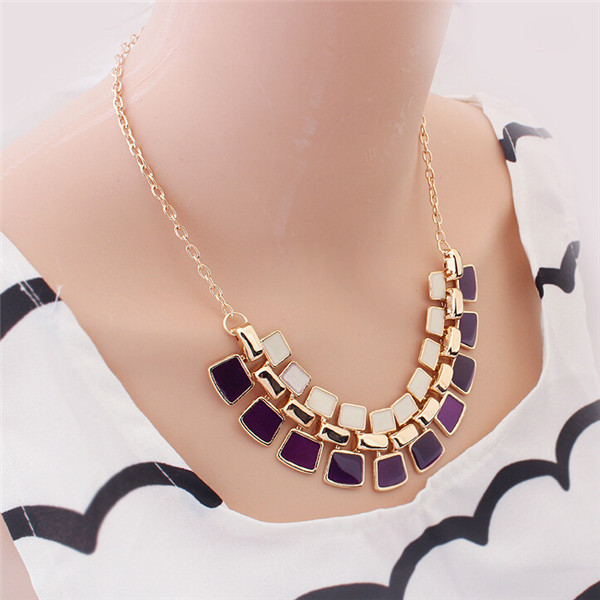 2015 Femme Statement Necklaces Gold Plated Stone Collier Colar Accessories Fashion Necklaces For Women Bijoux Jewelry