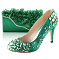 Fresh green 3D flower handbag clutch with hand sewn crystal high heel shoes matching kit for