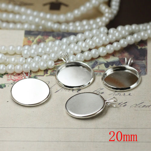 Jewelry Cabochon Charms Tray Bezel Blank Base W/ V Loop 20MM Round Shape Pendants Metal Accessories Silver Plated(China (Mainland))