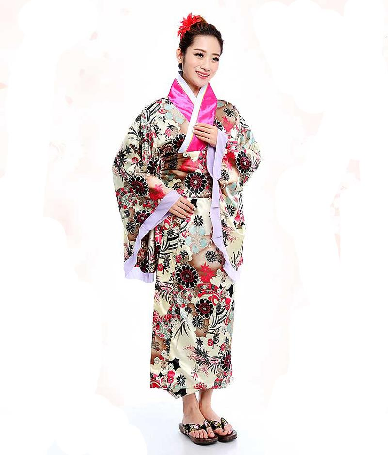 Hot Sale Japanese National Women Evening Dress Printed Kimono Gown Yukata With Obi Cosplay Costume Flower One Size NK018Одежда и ак�е��уары<br><br><br>Aliexpress