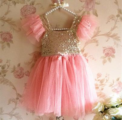 Free Shipping! NEW Girls Baby Toddler Sleeveless Golden Sequined Tulle Party Dress Ball Gown with Sparkling Polka Dots 3-7 Years<br><br>Aliexpress