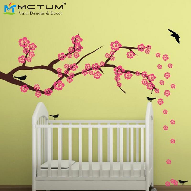 Cherry blossom branch wall decal nursery living dining for Dining room vinyl wall art