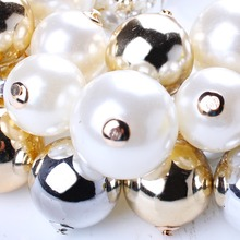 Starry Beads Gold Plated Chains Imitation Pearl Necklace New Resin Necklace for 2015 Women Brand Jewelry