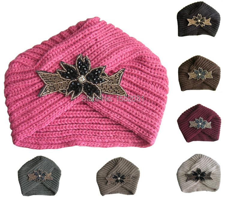 Fashion Women knitted headband Metal Jewel Accessory Winter Sparkle Floral Turban crochet headwrap Girl Headband EM46(China (Mainland))
