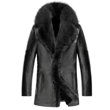 2016 for Crocodile fur one piece male slim genuine leather sheepskin raccoon fur coat with a leather gloves black brown colors (China (Mainland))