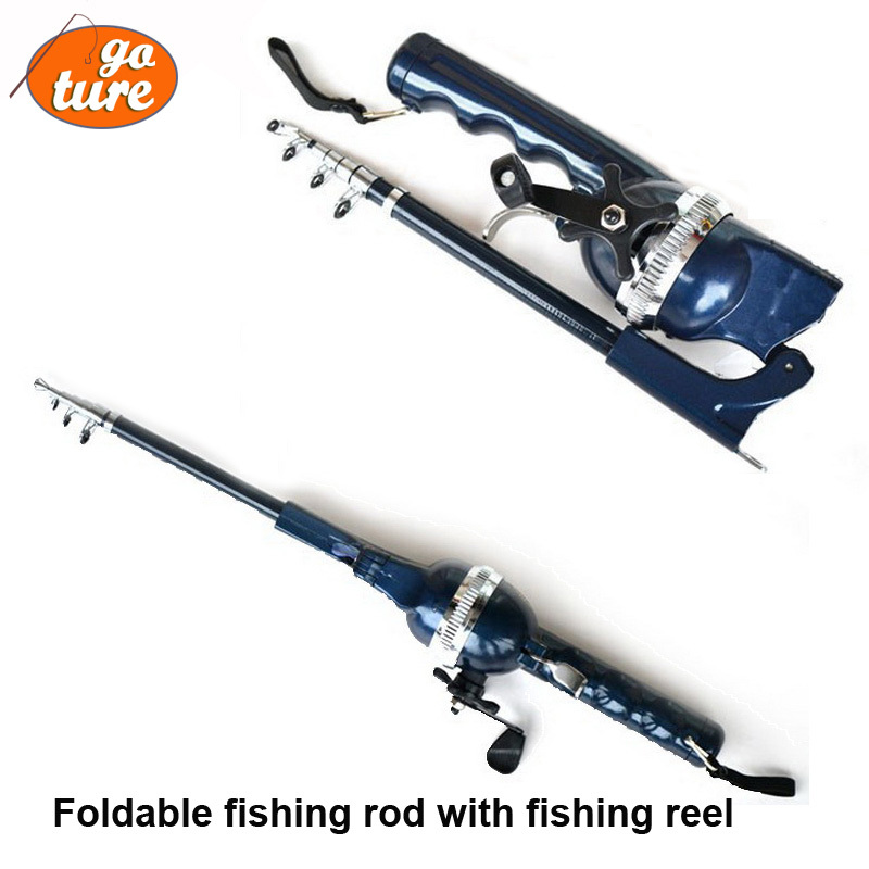 Gw dl foldable fishing rod with fishing reel convenient for Foldable fishing rod