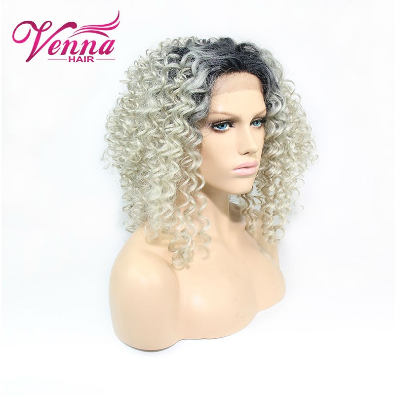 Short Blonde Curly Synthetic Wig Lace Front Ombre Wig Heat Resistant Soft Lace Front Wigs<br><br>Aliexpress