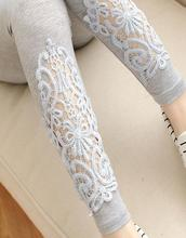 2015 Spring Autumn Women Modal Cozy Cotton Knitted leggings hollow out Lace diamond print flower Thin section Mid waist pants(China (Mainland))
