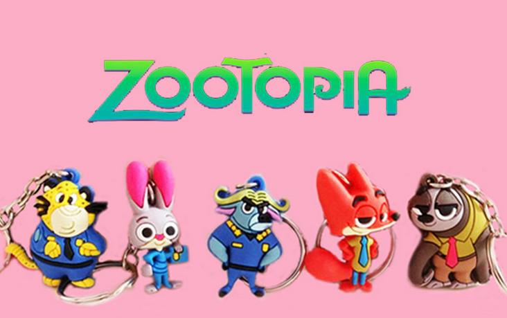 2pcs Zootopia rabit Judi Fox Nick sloth lightning Toy Figures dolls puppers toys with Key chain buckle Children Kids Gifts GYH(China (Mainland))