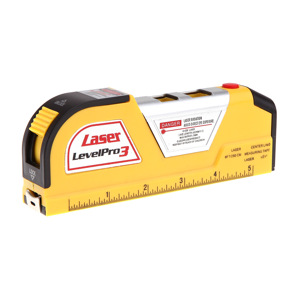 JY-02 8FT 2.5m Measuring Tape Laser Level Pro3 Measuring Equipment with 2 Way Level Bubbles and Laser Power On/Off nivel laser(China (Mainland))