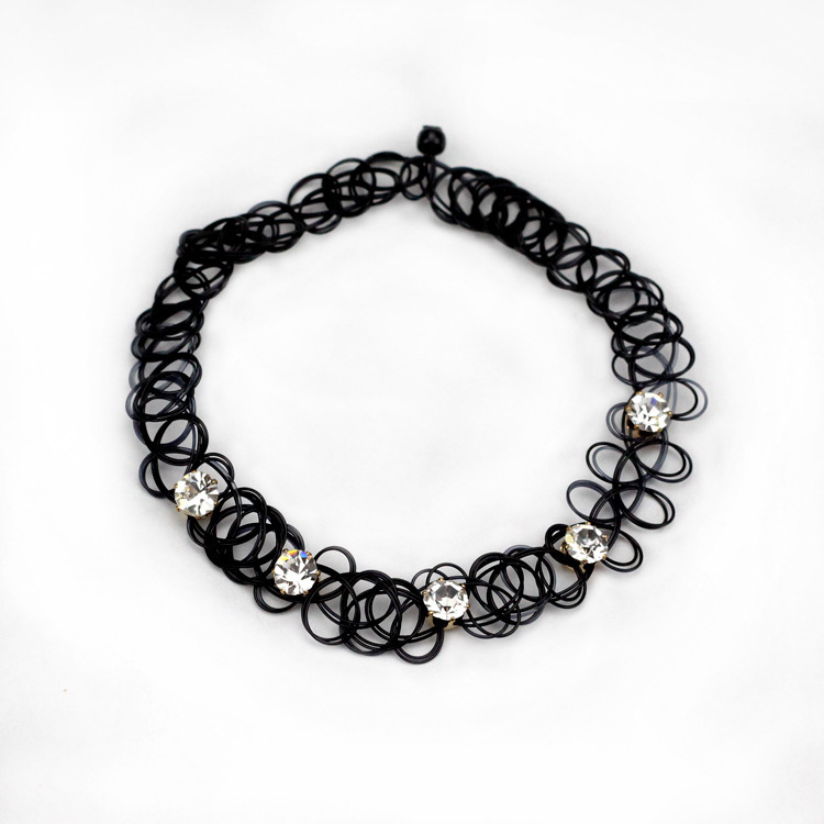 6pcs Fashion Handmade Hot Selling Vintage Stretch Tattoo Choker Necklace Gothic Punk Grunge Elastic with Pendant collares(China (Mainland))