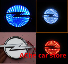 Free shipping 3D blue red white OPEL Waterproof  LED light Car logo Badge Rear Emblem Running lamp Auto accessories(China (Mainland))