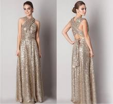 Robe De Soiree Custom Made Sequined Elegant Golden A-line Long Evening Dress Evening Gown Unqiue Design(China (Mainland))