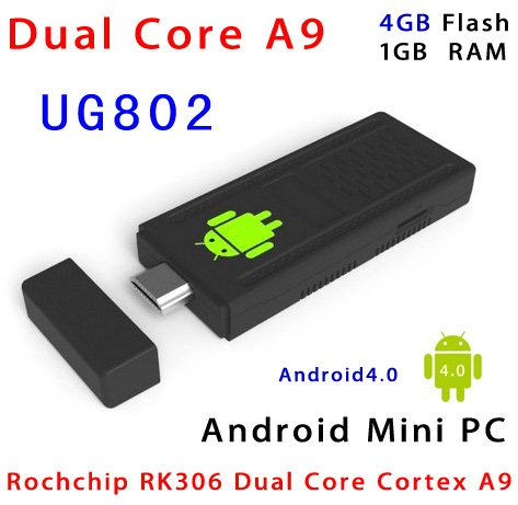 Latest Firmware WiFi Plus Version Mini PC UG802 Dual Core RK3066 1.6GHz Cortex A9 Stick MK802 III Android 4.0 HDD Player TV Box(China (Mainland))