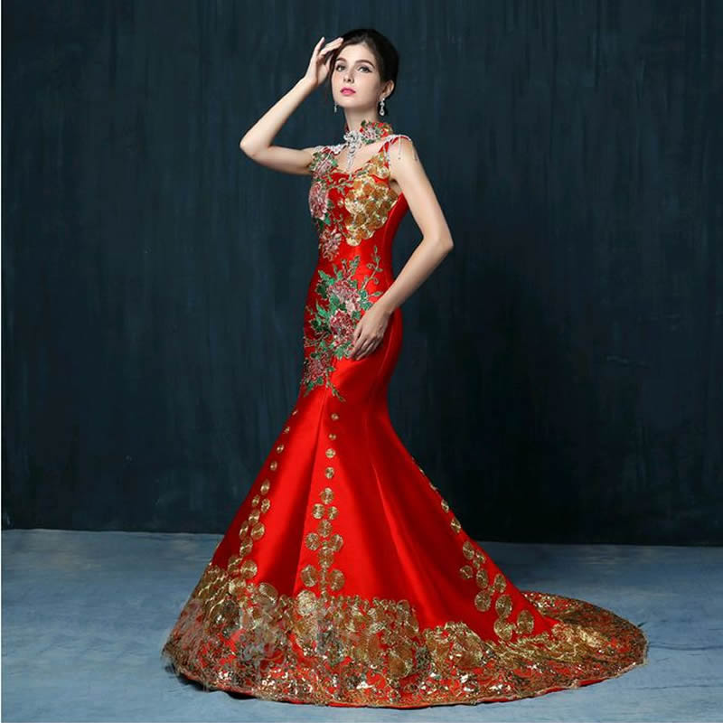 2016 luxury red embroidery tailing evening dress bride for Chinese wedding dresses online