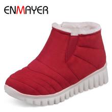 ENMAYER Slip-on Invierno Botas de Nieve Caliente Zapatos de Mujer de Tacón Bajo cuñas Botas de Plataforma Botines para Las Mujeres Sexy Negro Rojo zapatos(China (Mainland))