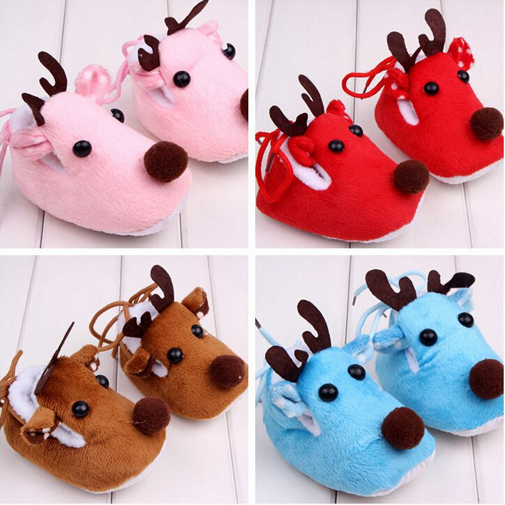 2015 Christmas shoes Fashion Winter Boys Girls Baby Cotton Shoes Toddlers Plush Warm Shoes First Walkers Infants Solid Shoes 332(China (Mainland))
