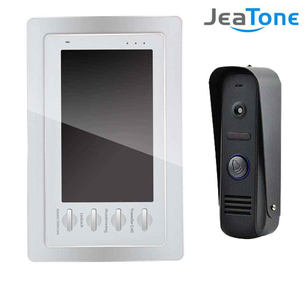 "JeaTone 7"" White Color HD Video Doorphone Door Entry Intercom Systems 1200TVL Outdoor Doorbell Camera+ 1 LCD Monitor(China (Mainland))"