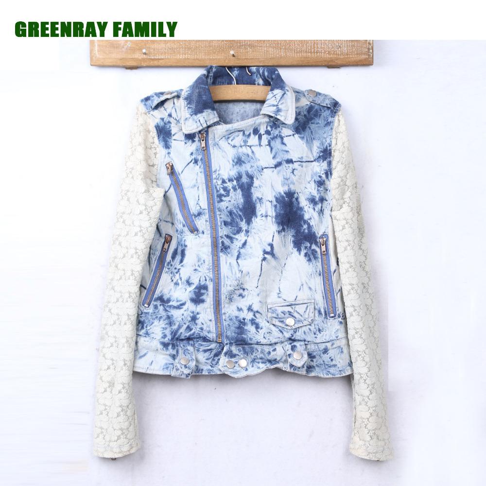 Spring Autumn Cotton Denim Women Short Jacket Crochet Lace Long Sleeve Obliques Zipper Turndown Collar Bleach Outerwear Coat(China (Mainland))