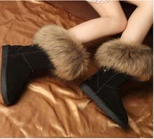 Zapatos de invierno Para Mujeres Reales de Piel de Zorro Botas de Nieve de Las Señoras Elegante Hasta La Rodilla 100% Botas de Nieve Botas de Invierno de Cuero Genuino(China (Mainland))