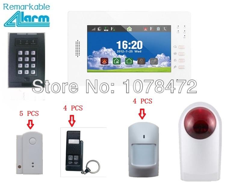 Advanced 7 inch Touch screen,CHUANGO STYLE wireless GSM alarm system, SMS,TXT Burglar Alarm+smoke sensor, strobe siren<br><br>Aliexpress