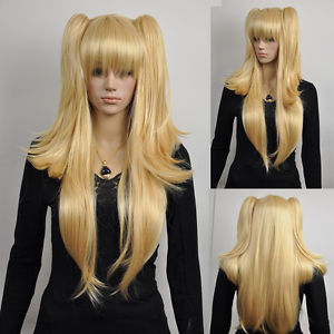 Long Straight Blonde Yellow Two Ponytail Loli Lolita Full Hair Cosplay Anime Wig    Ladies Heat Resistant Synthetic hair Wigs
