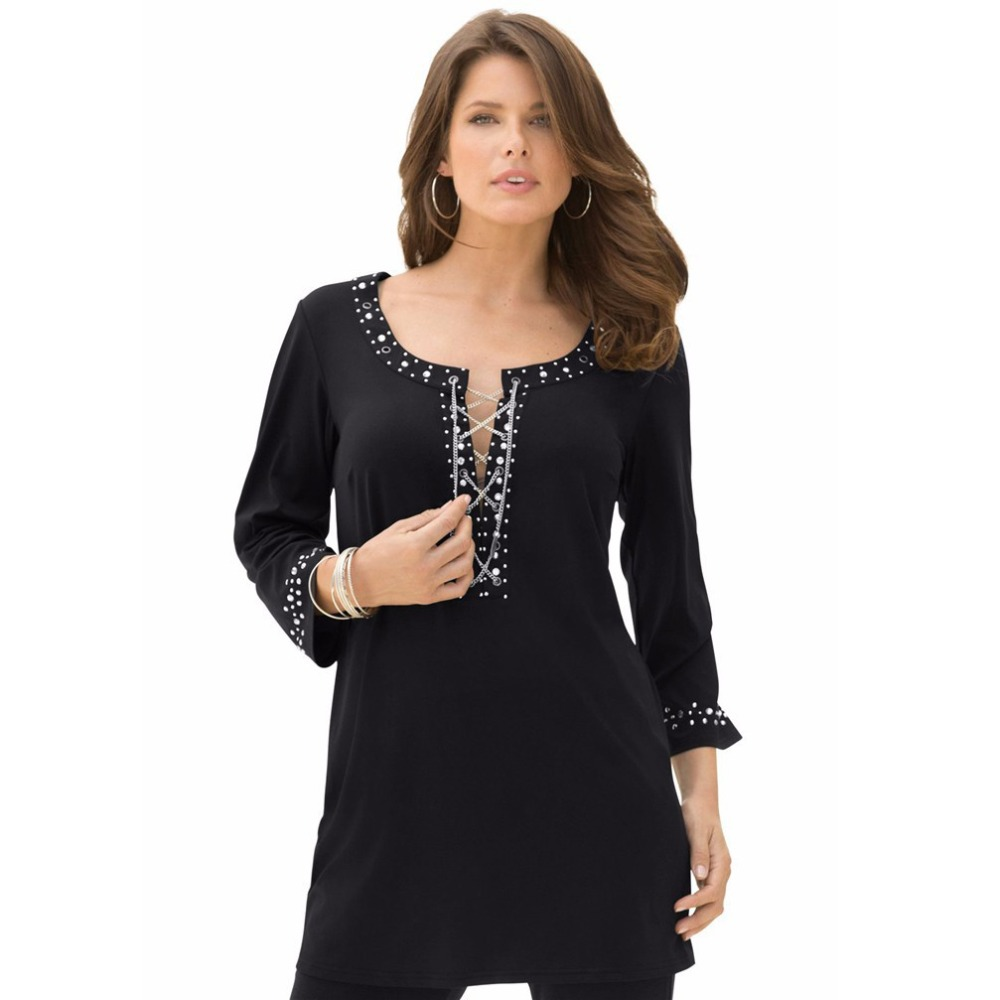 2015 Autumn Large Size Novelty Diamond Chain Women Tunic Blouse Tshirt Shirt Big Plus Size Women Clothing 4XL XXXXL 5XL 6XL 7XL(China (Mainland))