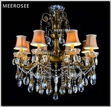 Bronze Finished Antique Crystal Chandelier Lingting Luxurious Brass Crystal Lamp Lustre Suspension Light MD8504 L8 D750mm H750mm(China (Mainland))