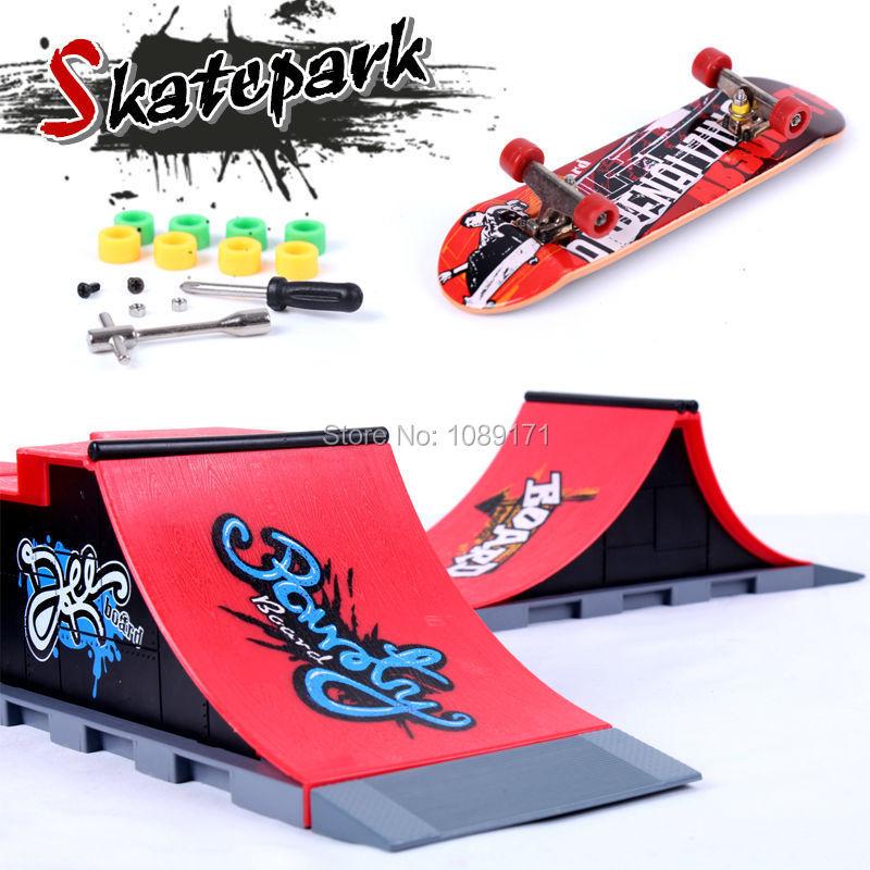 2015 Mini Finger Skateboard Ramps Skatepark Set Kid Toy Adult Fingerboard Toys Gifts For Children A B C D F Random distribution(China (Mainland))