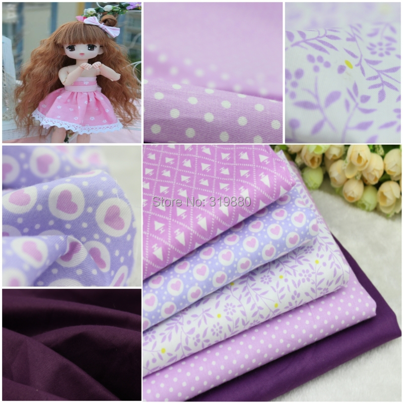 5 pcs Purple 100% Cotton Fabric for DIY Sewing Patchwork Kids Bedding Bags Tilda Doll Love Baby Cloth Textiles Fabric 40*50cm(China (Mainland))
