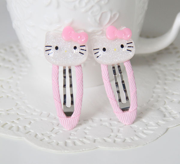 Free shipping! Children'shair clip hair accessories KITTY resin hair bands Handmade(China (Mainland))