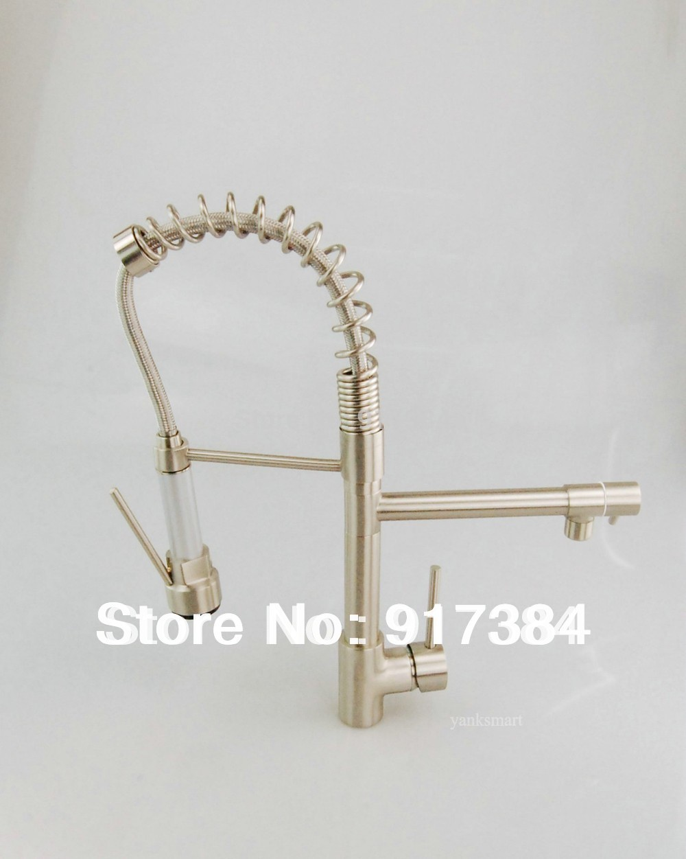 New and On Sale Nickel Brushed Double Water Spout Pull Out Kitchen Sink Mixer Tap Faucet JN8525-3(China (Mainland))