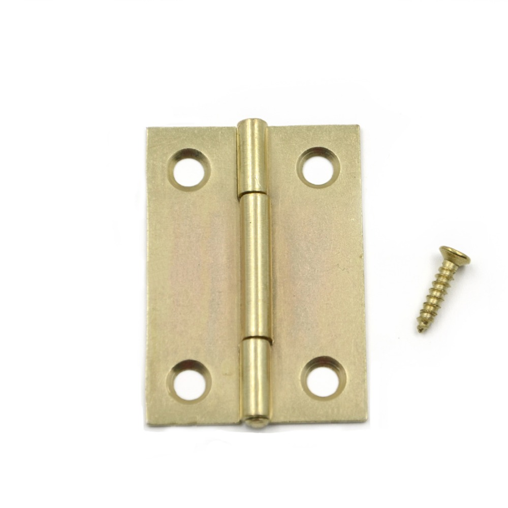 5pcs 50*32mm Gold Color Vintage Mini Metal Cabinet Drawer Door Butt Hinge Hardware Decorative(China (Mainland))