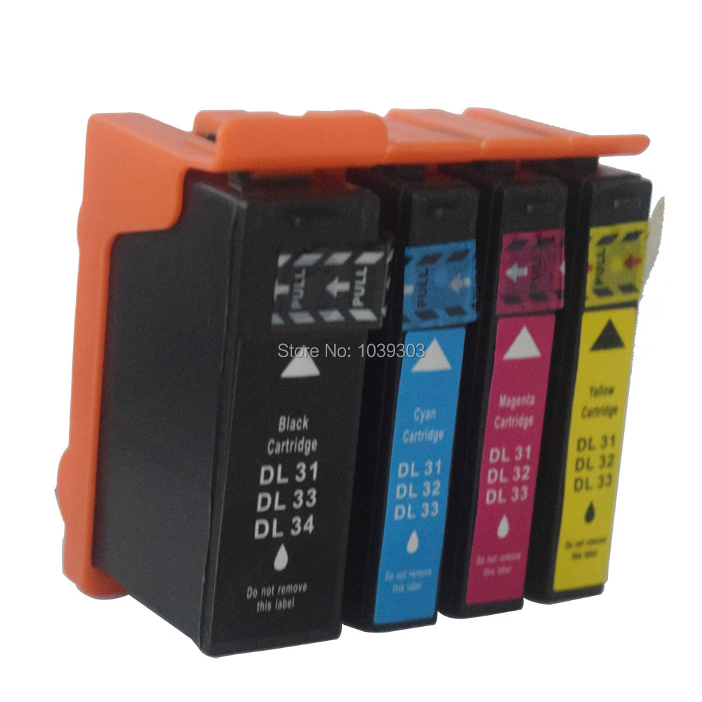 Free shipping 4Color Compatible ink Catridges For Dell Cartridge 31 32 33 34 for Dell Printer V525W V725W Ink with chips(China (Mainland))